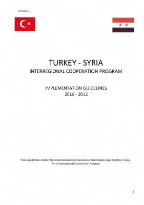 Türkiye-Suriye Bölgelerarası İşbirliği Programı Uygulama Rehberi ( İngilizce)