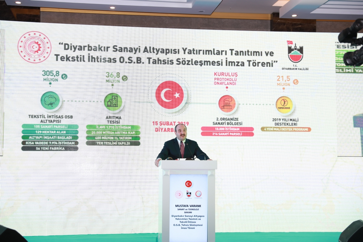 Minister Mustafa Varank Said That Textile Specialized Organized Industrial Zone Will Strengthen Diyarbakir's Power